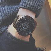 潮男手錶男學生防水個性霸氣歐美潮牌大錶盤皮帶石英錶非機械男錶   街頭布衣
