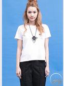 【2%】2%左胸前口袋英文字母T恤-白