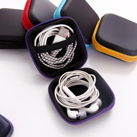 【方形耳機包】手機3C配件耳機傳輸線充電器硬幣收納包 整理包 隨身包 防震包 零錢包