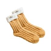 皇冠刺繡珊瑚絨加厚中筒襪(1入)【小三美日】款式隨機出貨