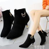靴子 女短靴女靴子英倫風馬丁靴高跟鞋細跟女鞋 蓓娜衣都