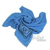 茱麗葉精品【全新現貨】 MOSCHINO 50134 M5344 電繡小熊LOGO莫代爾薄圍巾.藍