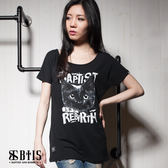 【BTIS】黑貓文字 長版T-shirt / 黑色