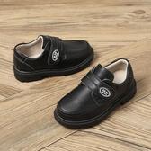 童鞋兒童皮鞋秋冬新款男童防滑軟底百搭魔術貼皮鞋學生款 晴天時尚