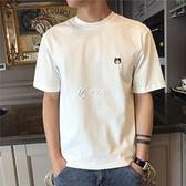 短袖T恤 新款貓咪刺繡小清新男生短袖t恤ins潮流男士夏季體恤潮牌衣服
