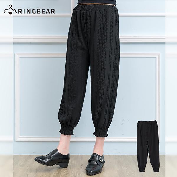 加大尺碼--甜美風格寬版褲頭彈性雪紡褲腳縮口九分長褲(黑XL-5L)-S83眼圈熊中大尺碼