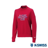 K-SWISS Round Sweat Shirts 圓領長袖上衣-女-紅