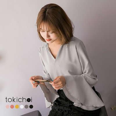 東京著衣-多色知性女孩荷葉袖雪紡上衣-S.M(172283)