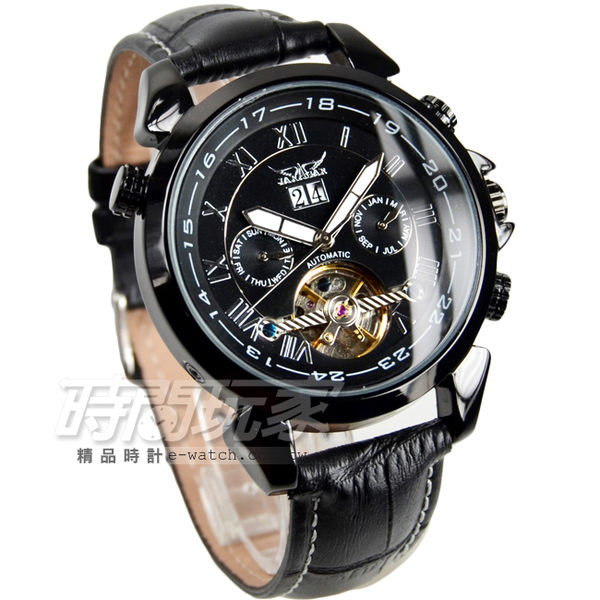 JARAGAR 全自動機械錶 雙日曆腕錶 皮革男錶 羅馬數字時刻 真三眼防水手錶 自動上鍊簍空 J597槍黑