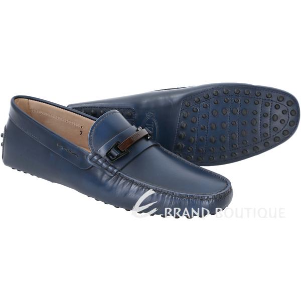 TOD'S GOMMINO DRIVING 仿舊渲染木飾LOGO豆豆休閒鞋(藍色) 1540696-23