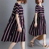 韓版休閒洋裝連身裙25590/夏裝新款文藝寬松顯瘦條紋棉麻短袖中長款連衣裙圖色愛尚布衣