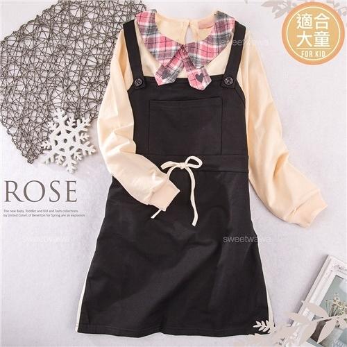 (大童款-女)黑采綁帶吊帶裙-運動時尚女孩~四季可穿(300084)【水娃娃時尚童裝】