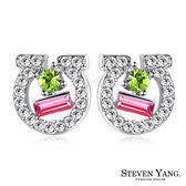 耳環 正白K飾「等待幸福」耳針式 採施華洛世奇水晶元素 抗過敏 銀色款 一對價格
