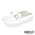 女鞋 穆勒鞋 氣墊鞋 拖鞋 氣質小方釦真皮磁石內增高球囊穆勒鞋-MIT手工鞋(純真白)Normlady諾蕾蒂