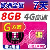 【TPHONE上網專家】 歐洲全區G方案 7天 8GB大流量高速上網 贈送通話