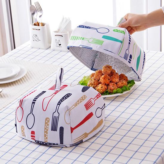 加厚鋁箔保溫罩(小) 飯菜罩 餐桌 防蒼蠅 食物 水果 蚊蟲 野餐 摺疊 菜傘 【Z074】米菈生活館