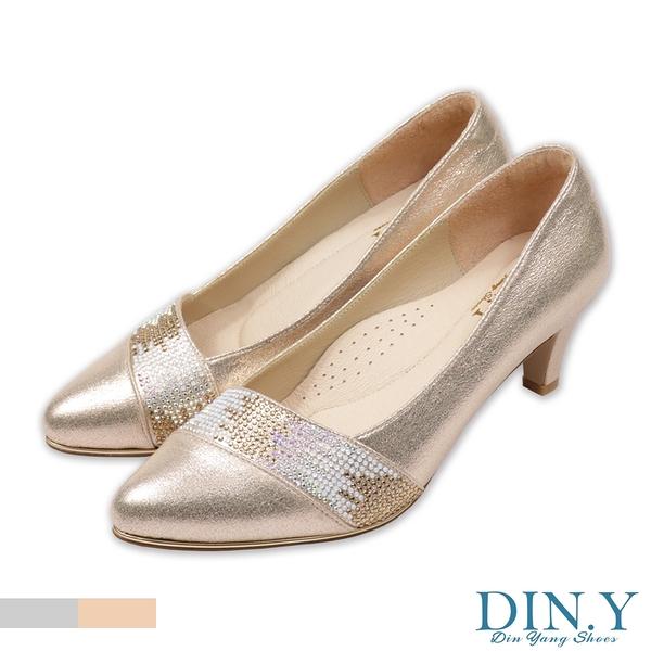 璀璨星砂鑲鑽真皮裡跟鞋(金) 婚鞋.尖頭鞋.中低跟.晚宴鞋.5.5cm高.女鞋【S193-14】DIN.Y