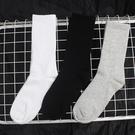 襪子男女中筒襪港風黑白純色高腰