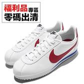 【US7-NG出清】Nike 阿甘鞋 Wmns Classic Cortez 復古慢跑鞋 白 藍 紅 OG 女鞋 兩腳右側泛黃 福利品【ACS】