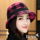 羊毛呢冬帽-保暖羊毛混紡蝴蝶結織帶裝飾漁夫防風圓邊淑女盆帽14AW-S012 FLY SPIN