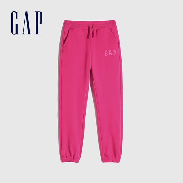 Gap女童 Logo基本款鬆緊針織褲 619588-玫粉色