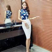 韓版高端職業通勤無袖印花雪紡上衣氣質OL西裝裙白領女裝套裝裙潮  巴黎街頭
