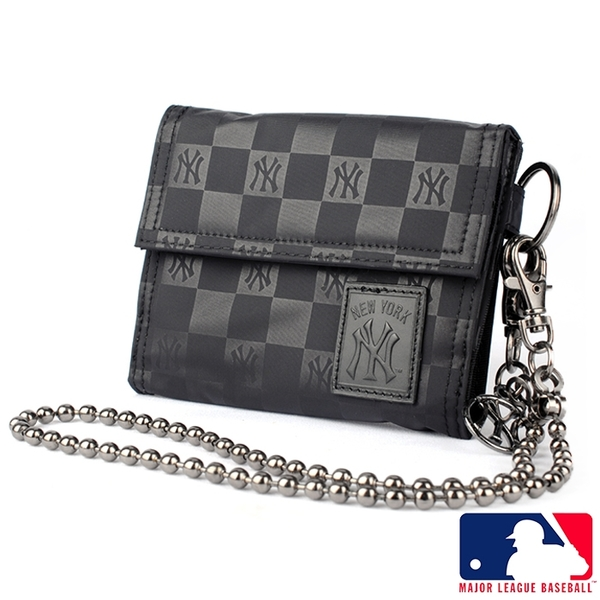 Backbager 背包族【MLB 美國大聯盟 洋基】橫式 魔鬼氈 皮夾/短夾/錢包-黑色