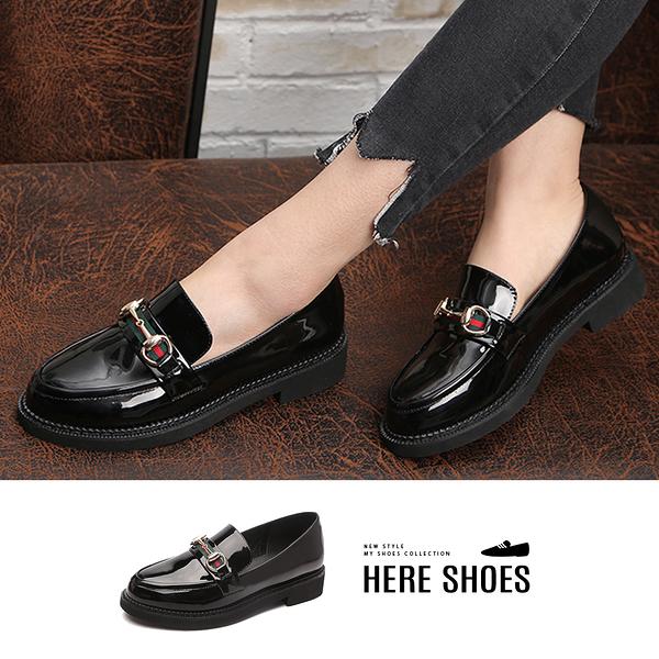 [Here Shoes]亮面皮質 學生學院風樂福鞋馬蹄扣粗中跟3CM時尚圓頭女鞋包鞋─KI668-2