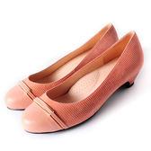 Clay Derman   時尚金屬扣飾低跟鞋-粉