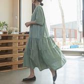 正韓 層次皺褶拼接寬鬆洋裝 (3339829) 預購