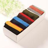 長襪禮盒(5雙裝)-時尚簡約撞色寬條紋純棉男士襪子套組5色72s30[時尚巴黎]
