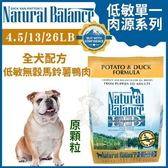 『寵喵樂旗艦店』Natural Balance 低敏單一肉源《無穀馬鈴薯鴨肉全犬配方(原顆粒)4.5LB