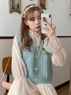 秋季甜美減齡花邊V領針織馬甲女韓版無袖上衣寬鬆背心外套百搭潮 貝芙莉