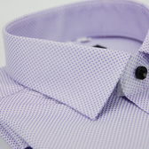 【金‧安德森】紫色方格紋黑釦窄版長袖襯衫