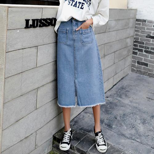 【藍色巴黎】 韓版高腰雙口袋開岔中長牛仔裙 及膝裙 【23360】