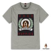 Hush Puppies T恤 男裝桂冠印花狗頭刺繡圖騰T恤