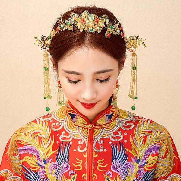 中式婚禮秀禾服新娘頭飾流蘇鳳冠發飾古裝頭飾