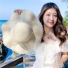 太陽帽子女士網紅時尚珍珠編織草帽夏天遮陽防曬海邊沙灘帽木耳邊