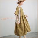 洋裝 復古花環棉麻洋裝 三色-小C館日系