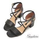 訂製款 一字交叉踝釦粗跟涼鞋-艾莉莎Al...