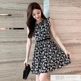 小個子無袖碎花洋裝女2021年夏季仙女裙短款修身顯瘦氣質小黑裙 夏季新品