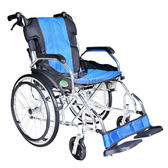 【贈好禮】頤辰 鋁合金輪椅 YC-600 (中輪) 抬腳功能 方便收納 (藍) 機械式輪椅