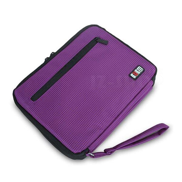 【滿490免運】BUBM 雙層大容量電源線配件收納包 平板 行動電源 行動硬碟 (紫) (ISP-D)