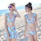 新款溫泉比基尼三件套泳衣女小胸聚攏鋼托性感泳裝海邊bikini平角