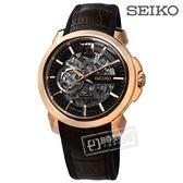 SEIKO 精工 / 4R71-00A0K.SSA374J1 /  限量 機械錶 諾瓦克喬科維奇 矽膠牛皮手錶 黑x玫瑰金框x深褐 42mm