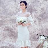 歐根紗七分袖上衣+短裙(兩件套)-復古優雅包臀魚尾女裙裝73lk20[巴黎精品]