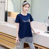 2019夏裝韓版新款微胖mm仙女人大尺碼 女裝洋氣顯瘦減齡遮肚短袖T恤
