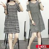 時尚格子露肩短袖連衣裙 L-4XL O-ker歐珂兒 168259