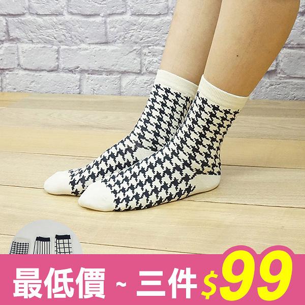 襪子 格子千鳥紋直條長襪 MA女鞋 K1014