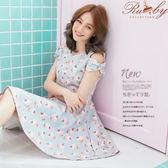 洋裝 露比設計‧露肩草莓蛋糕蝴蝶結短袖洋裝-淺綠色-Ruby s露比午茶